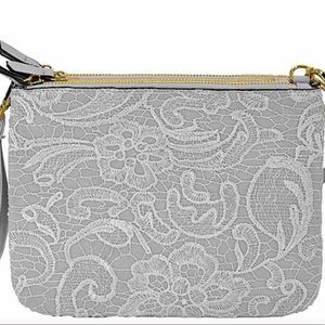 Handbags - Winter White Faux Leather And Lace Crossbody